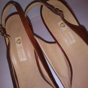 Gucci Shoes - Gucci brown vintage slingback peep toe shoes